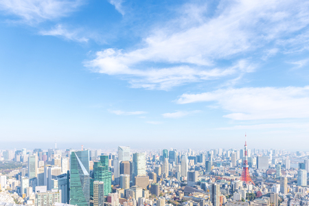 Landscape in the city of Tokyo on a sunny day  and Tokyo Tower Stock Photo