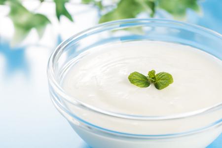 Yogurt in a glass bowl