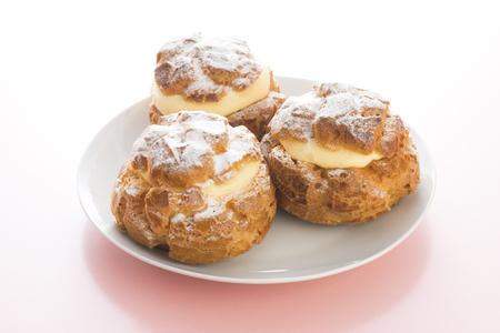Cream puff on a plate