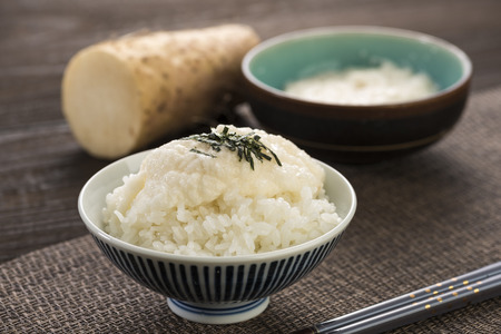 Japanese Tororo rice, sticky food made from grating a yam.