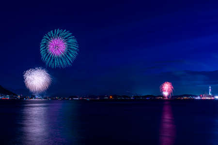 Kanmon Strait fireworks festival, Fukuoka, Yamaguchi, Japan