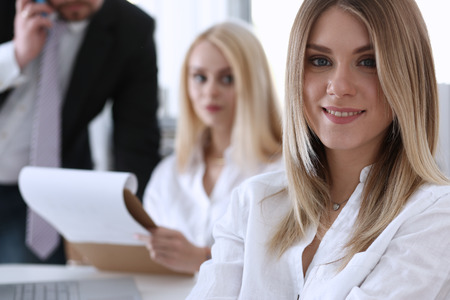 Beautiful smiling businesswoman portrait at workplace look in camera. White collar worker at workspace, exchange market, job offer, irs, certified public accountant, internal Revenue officer concept