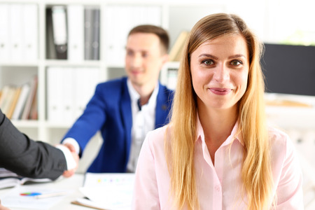 Businesswoman offer hand to shake as hello in office portrait. Serious solution, friendly support service, excellent prospect, introduction or thanks gesture, gratitude, invite to participate concept Stock fotó