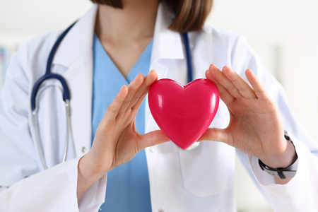 Female medicine doctor hands holding and covering red toy heart closeup. Cardio therapeutist, student education, physician make cardiac physical, heart rate measure, arrhythmia concept