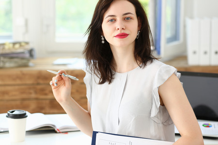 ambitious: Beautiful smiling businesswoman portrait at workplace look in camera. White collar worker at workspace, exchange market, job offer, certified public accountant, internal Revenue officer concept