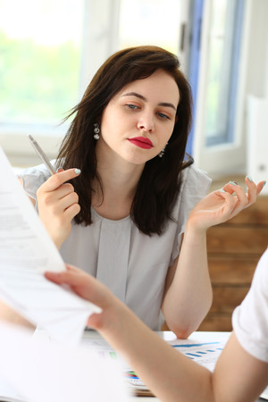 Beautiful businesswoman portrait at workplace look in camera. White collar worker at workspace, exchange market, job offer, irs, certified public accountant, internal Revenue officer concept