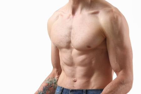 Strong mens press thanks to diet and constant training