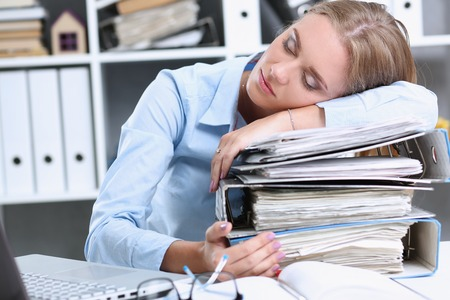 executor: Lot of work wait for tired and exhausted woman