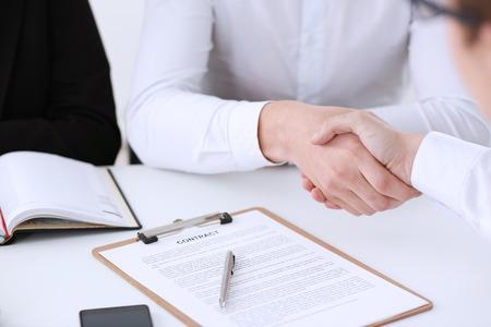 Partnership agreement closeup with man