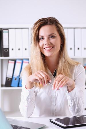 Beautiful business woman portrait in office Stock Photo