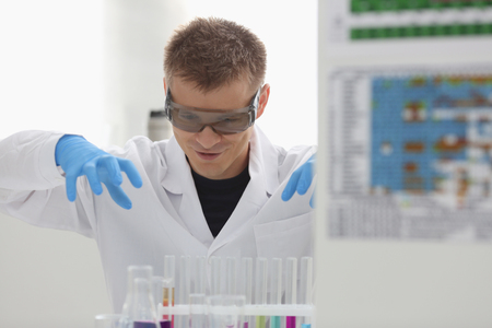 Employee of the chemical laboratory chemist Stock Photo