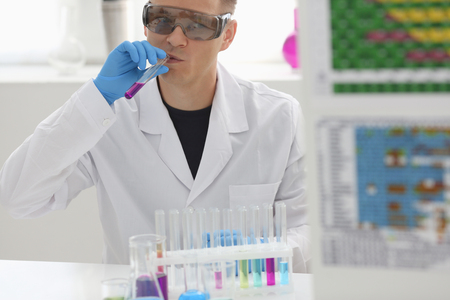Employee of chemical laboratory teacher Stock Photo