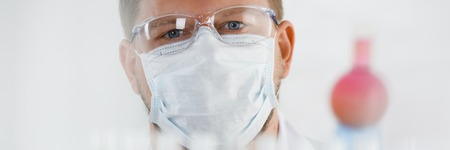 A portrait of a young surgeon chemists doctor