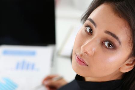 Beautiful smiling chinese businesswoman portrait Stock Photo
