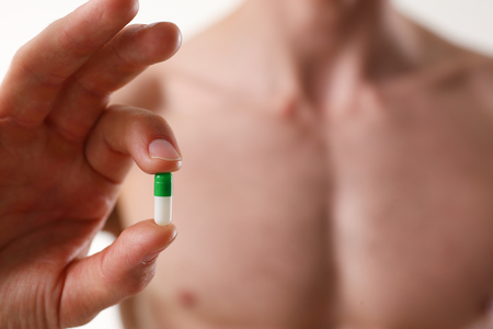 Athlete bodybuilder takes dope in the form
