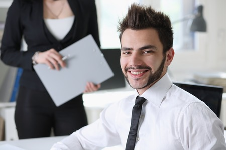 businessmen work at office with assistant