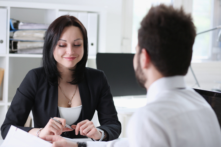 man and woman interview at office