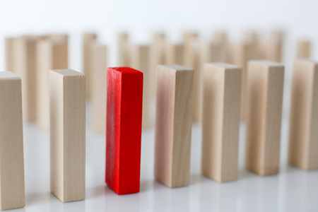 One red winner lottery wood block row Stock Photo