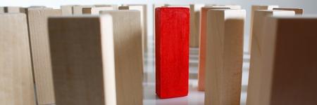 One red winner lottery wood block row Stockfoto