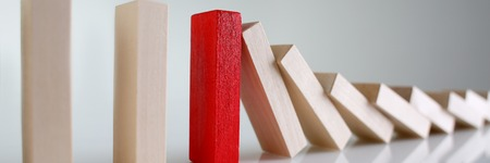 One red winner lottery wood block row Stock Photo