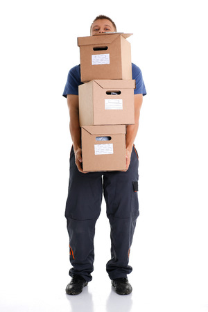 Specialist courier delivery service carries boxes Stock Photo