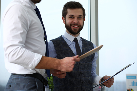 Group of modern businesspeople in office debate on financial issue Reklamní fotografie