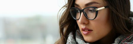 Young beautiful woman in a scarf portrait is Stock Photo