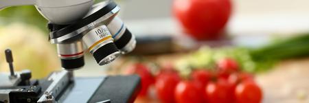 Microscope head on kitchen background