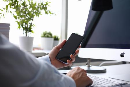 Apple imac in office table Illustrative editorial Sajtókép