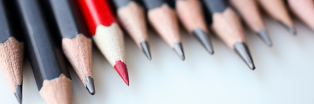 Red pencil standing out from crowd of