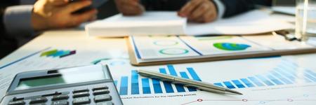 Financial statistics documents ball pen 版權商用圖片