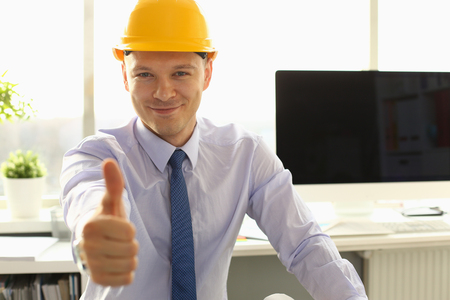 Handsome Architect Thumb Up in Engineering Office Stockfoto - 121062770