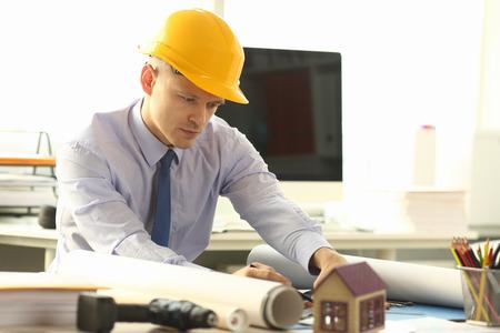 Architect Plan Building Reconstruction Project Stockfoto
