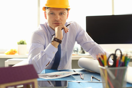 Architect or Engineer Working on Building Plan Stockfoto - 121062807