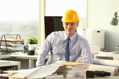 Smiling Civil Engineer Working on House Sketch Stockfoto - 121062808