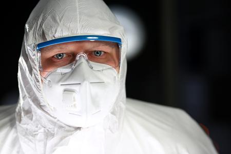Scientist Man Working Sterile Laboratory Portrait Reklamní fotografie