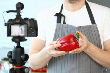 Male Hands Recording Pepper Culinary Recipe Blog