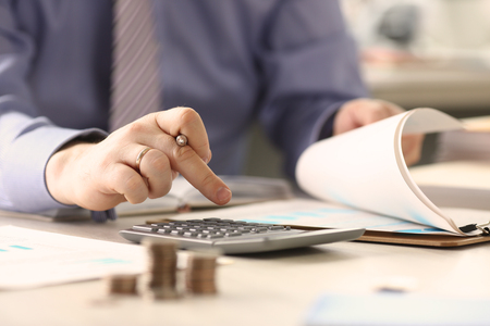 Businessman Calculate Funds Tax Report Concept Stockfoto