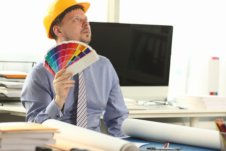 Dreamy Architect Designer Holding Colour Swatches