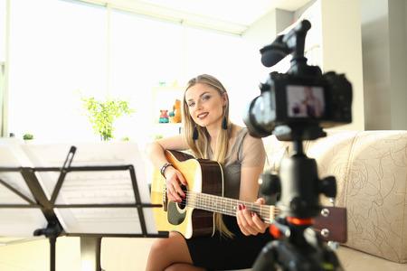 Female Blogger Creating Art Musical Vlog Content