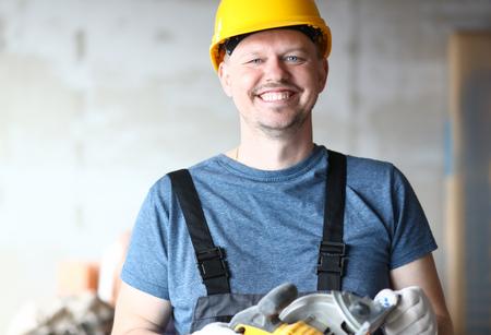 Joyful builder in hardhat