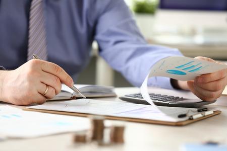 Financial Tax Report Man Calculating Vat Expenses Stockfoto