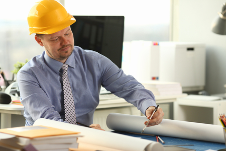 Busy Engineer Draft Architectural Building Project Stockfoto
