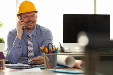 Happy Business Man Smile Talking Smartphone Stockfoto