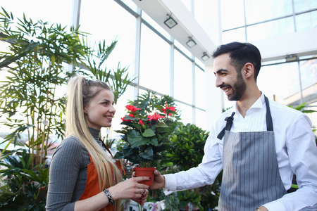 Man Gardener Giving Red Flower in Pot to Woman