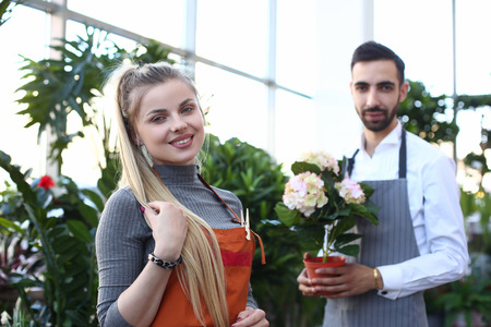 Happy Woman and Man Florist at Home Plant Shop