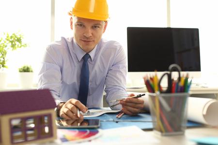 Confident Architect Designer Create Building Plan