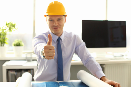 Male Architect Worker Thumb Up in Office Workplace