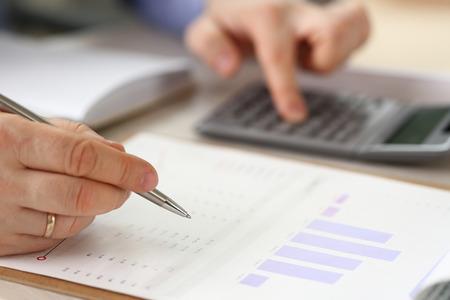Manager Calculate Finance Budget Economics Report Stockfoto