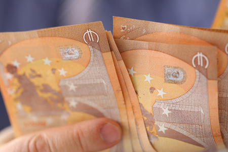 Wealthy Man Counting Euro Savings Finance Concept